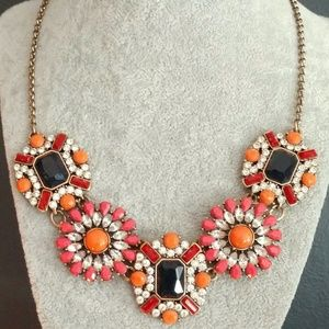 Coral, orange, navy and clear beaded necklace